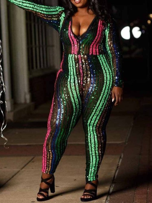 Color Block Party/Cocktail Plus Size Sequin Patchwork High Waist Women's Jumpsuit