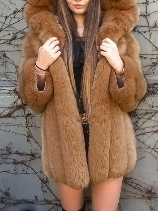 Plain Mid-Length Hooded Thick Women's Faux Fur Overcoat