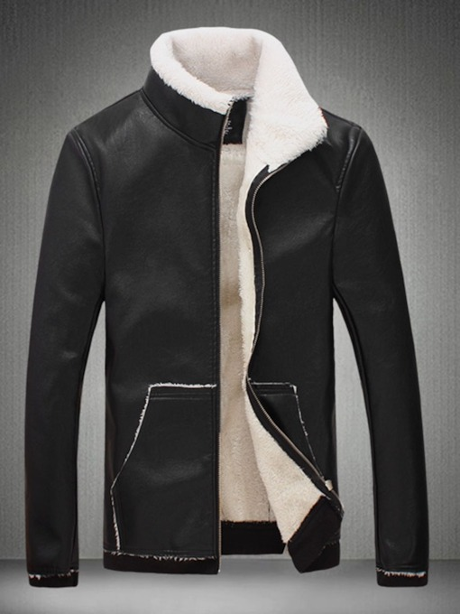 Color Block Standard Collar Slim Men's Leather Jacket