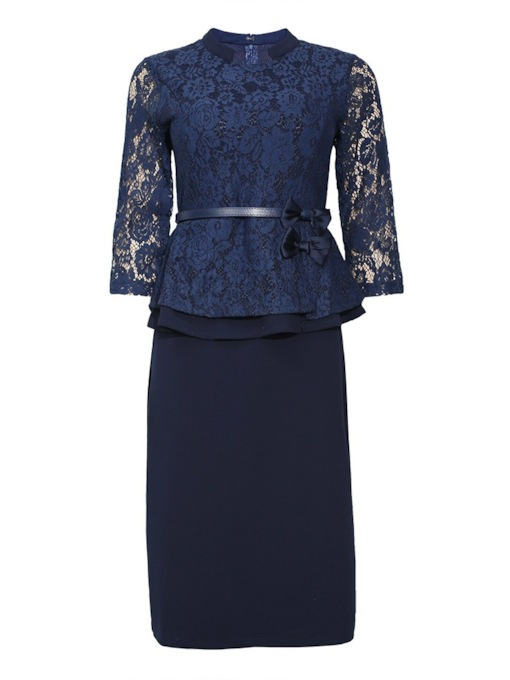 Plus Size Three-Quarter Sleeve Mid-Calf Stand Collar Lace Floral Women's Dress