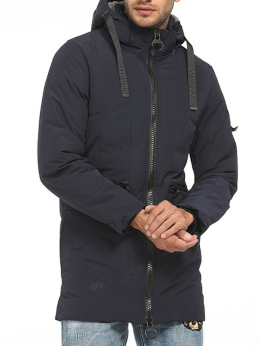 Hooded Plain Zipper Casual Men's Down Jacket