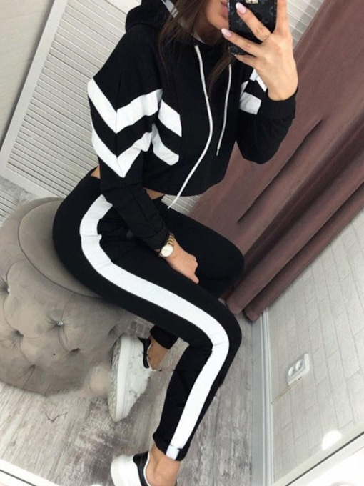 Color Block Ankle Length Casual Women's Two Piece Sets