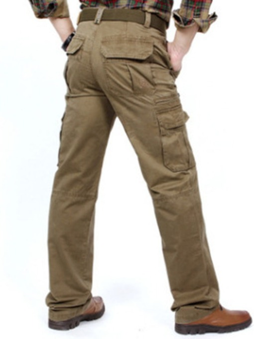 Plain Zipper Mid Waist Men's Casual Pants