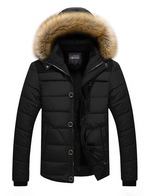 Hooded Block Standard Zipper Men's Down Jacket