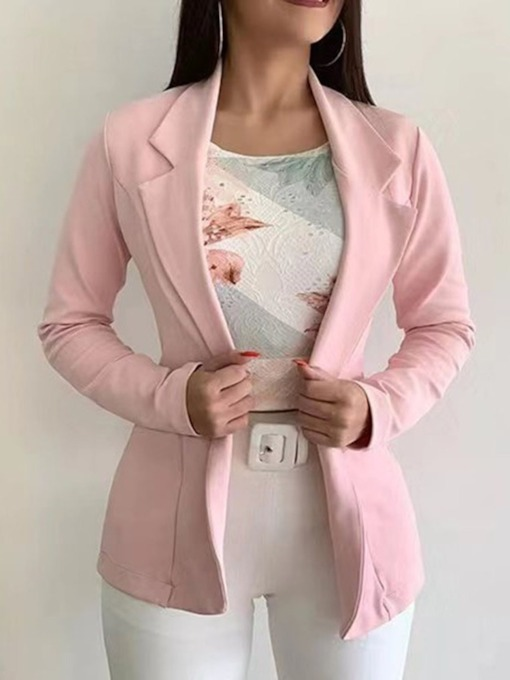 Plain Mid-Length Women's Casual Blazer