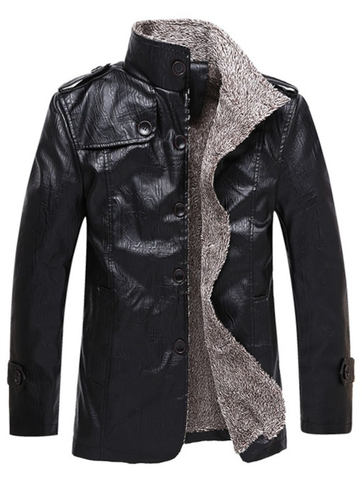 Plain Stand Collar Single-Breasted Men's Leather Jacket