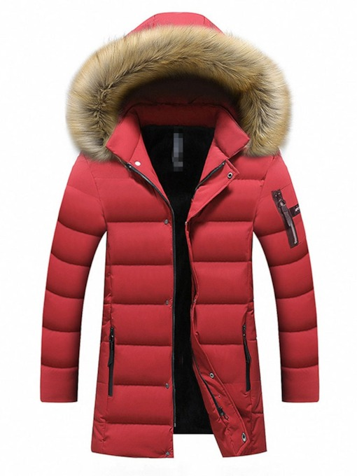 Color Block Hooded Zipper Mid-Length Casual Men's Down Jacket