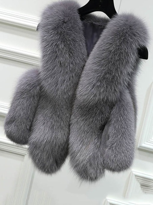 Faux Fur Plain Ladylike Short Women's Vest