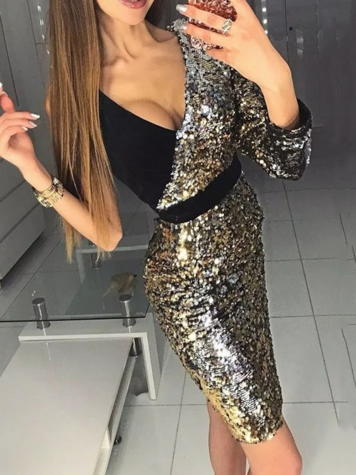 Sequins Above Knee V-Neck Three-Quarter Sleeve Bodycon Women's Dress