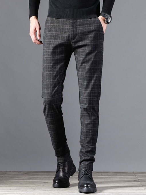 Pocket Plaid Zipper Men's Casual Pants