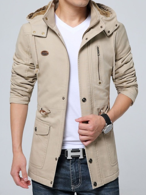 Plain Zipper Thick Hooded Men's Jacket