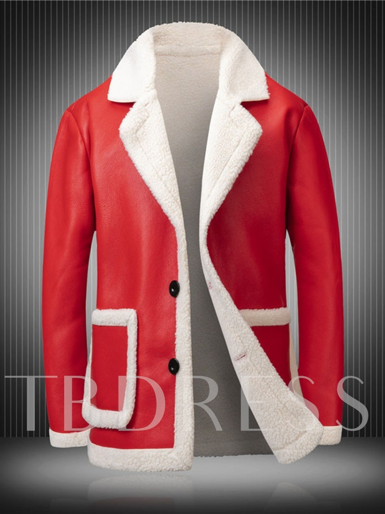 Lapel Color Block Christmas Single-Breasted Men's Leather Jacket
