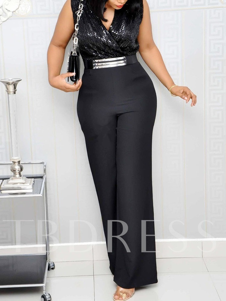 Sequins Plain Fashion High Waist Women's Jumpsuit