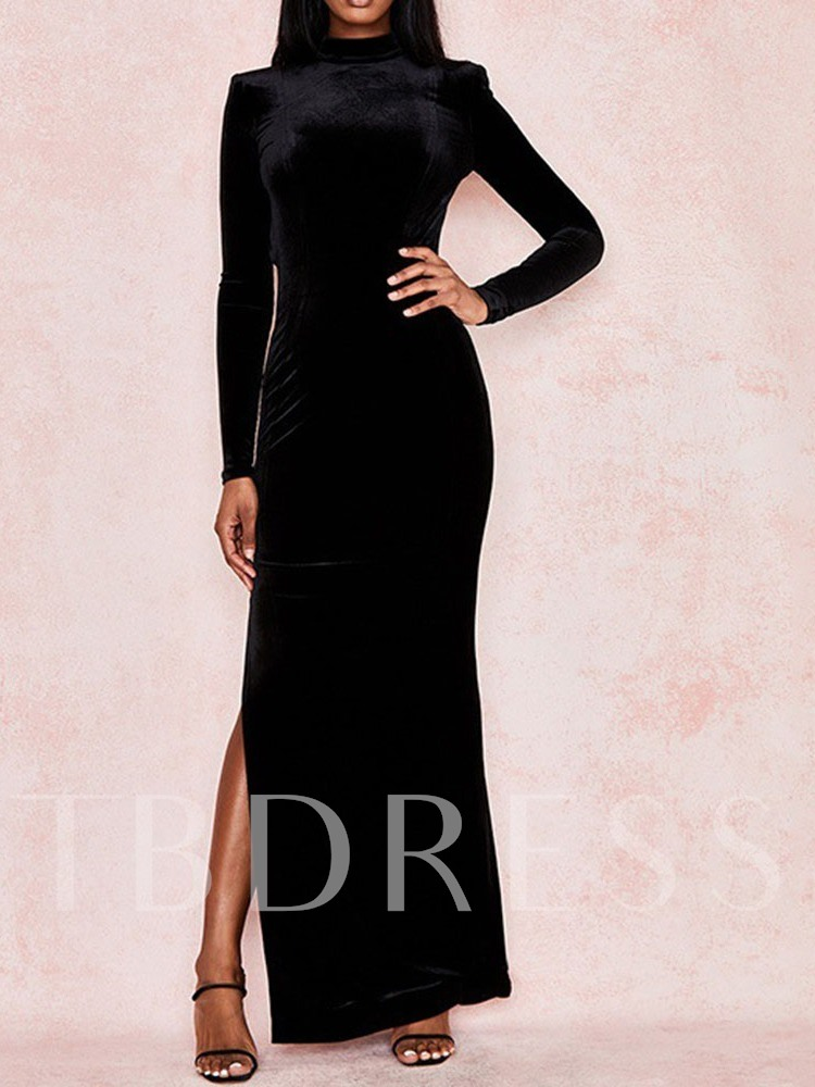 Ankle-Length Long Sleeve Backless Stand Collar Party/Cocktail Women's Dress
