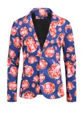 Christmas Button Print Notched Lapel Slim Men's Leisure Blazers