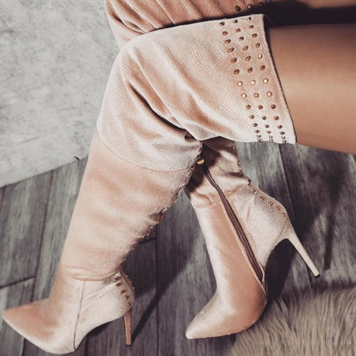 Customized Pointed Toe Stiletto Heel Side Zipper Thigh High Boots