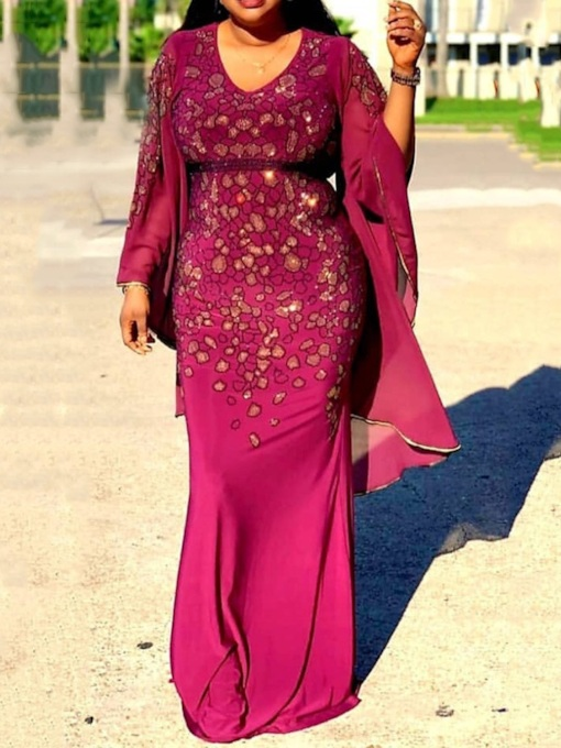Plus Size Long Sleeve Floor-Length Embroidery V-Neck Mid Waist Women's Dress