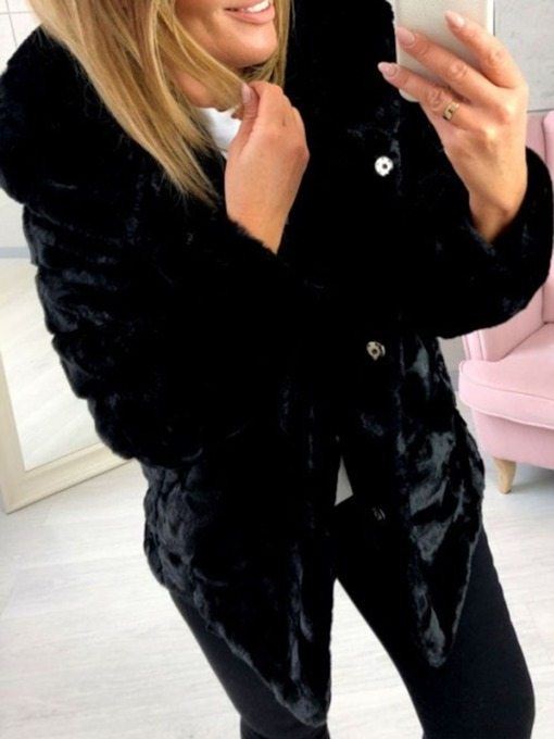 Plain Regular Standard Thick Women's Faux Fur Overcoat