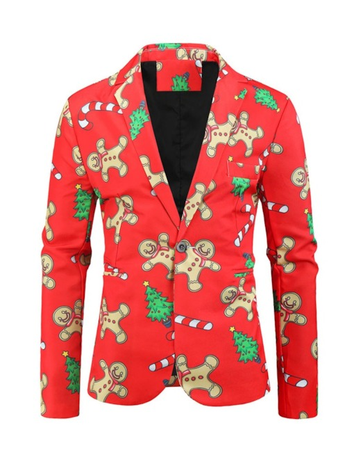 Notched Lapel Cartoon Casual Slim Men's Christmas Leisure Blazers