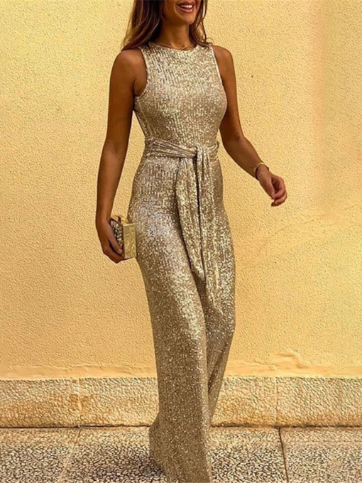 Plain Full Length Backless Ladylike Slim Women's Jumpsuit