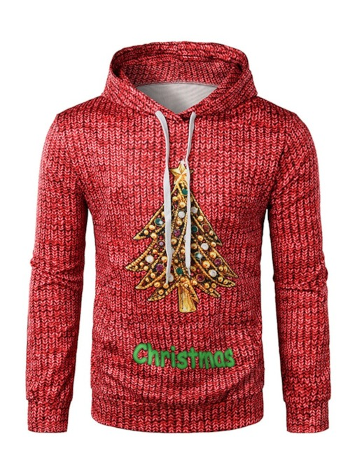 Pullover Thick Print Letter Christmas Men's Hoodies