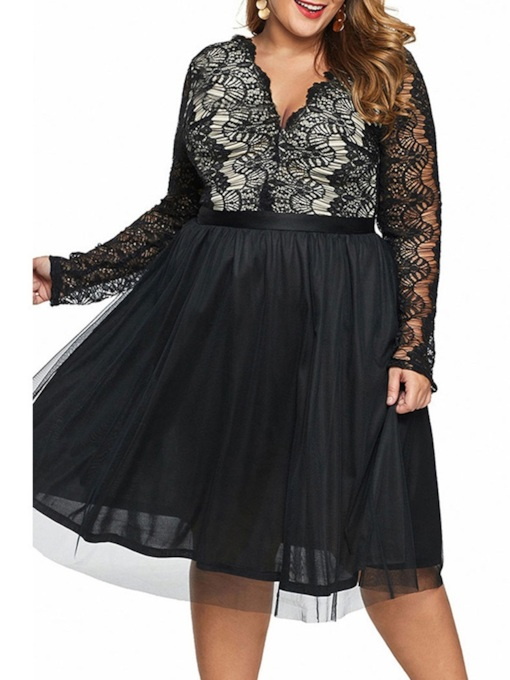 Plus Size Mid-Calf V-Neck Long Sleeve Hollow Pullover Women's Dress