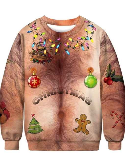 Ugly Christmas Sweaters 2019 Thick Style Print Cartoon Pullover Men's Hoodies