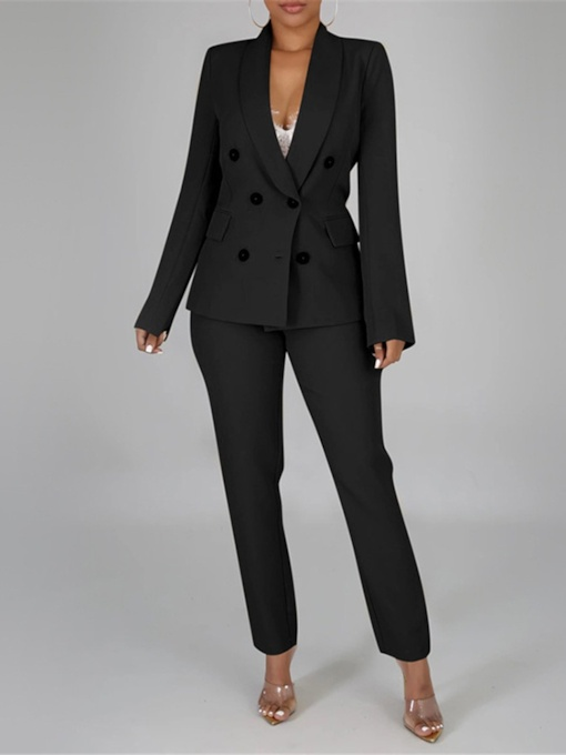 Office Lady Casual Button Plain Women's Two Piece Sets