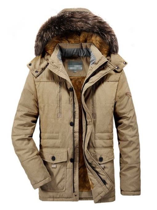 Casual Plain Mid-Length Hooded Men's Down Jacket
