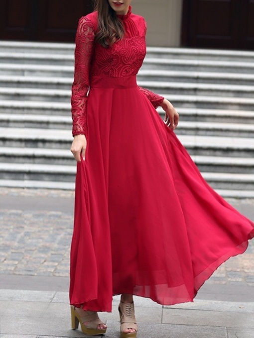 Stand Collar Long Sleeve Hollow Ankle-Length Expansion Women's Dress