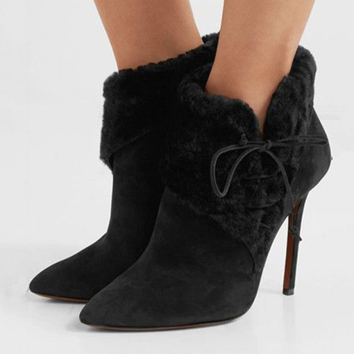 Customized Stiletto Heel Lace-Up Front Pointed Toe Suede Boots