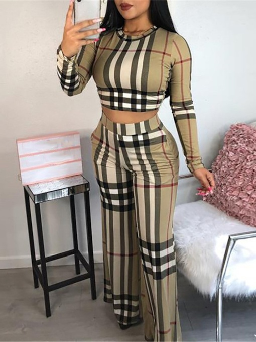 Plaid Casual Print Bellbottoms Women's Two Piece Sets