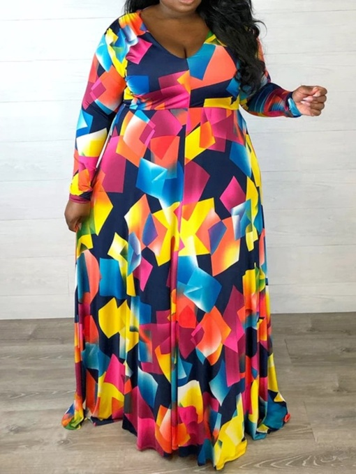 Plus Size Floor-Length V-Neck Long Sleeve Regular Women's Dress