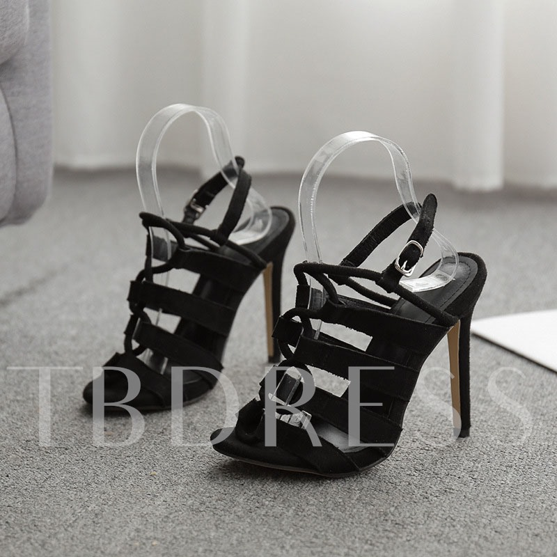 Open Toe Stiletto Heel Buckle Suede Sandals