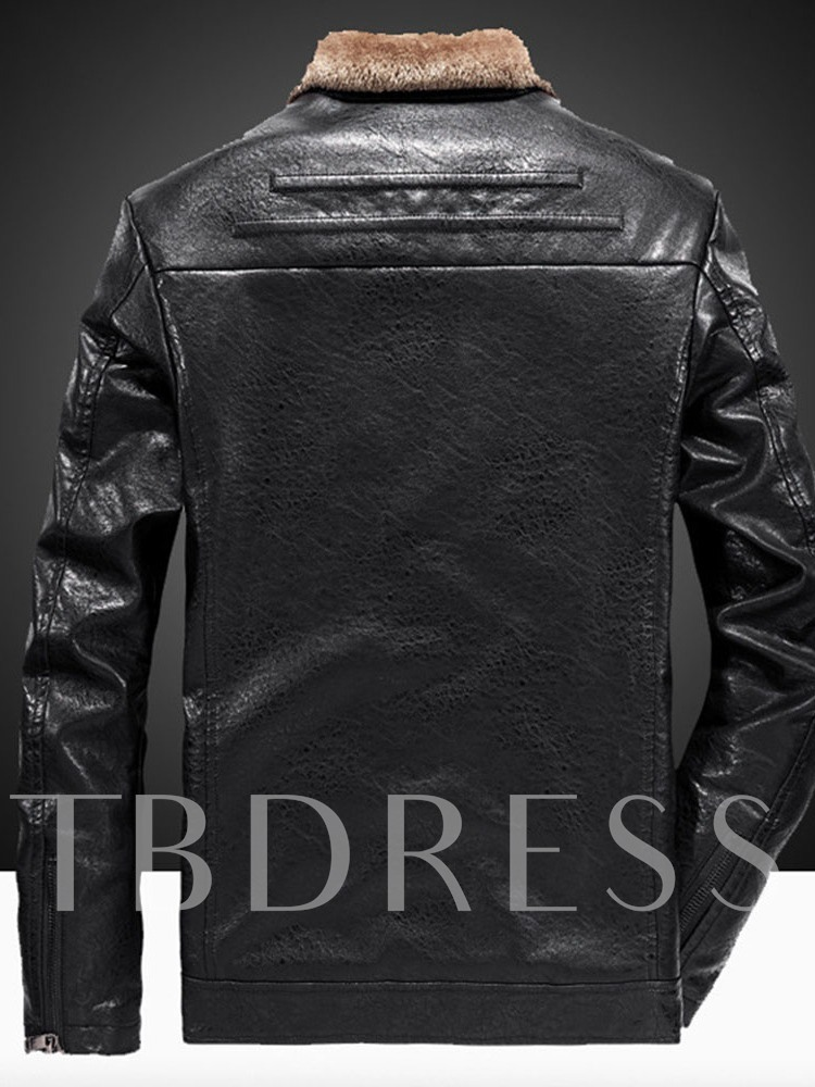 Plain Standard Lapel Casual Men's Leather Jacket