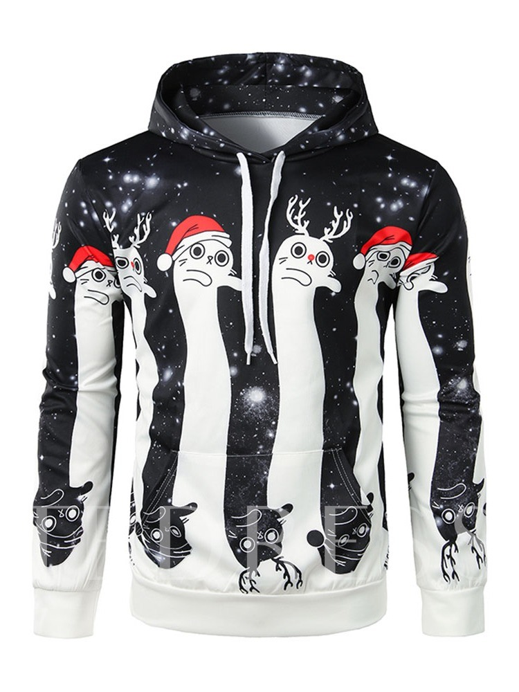 Thick Print Cartoon Pullover Christmas Men's Hoodies