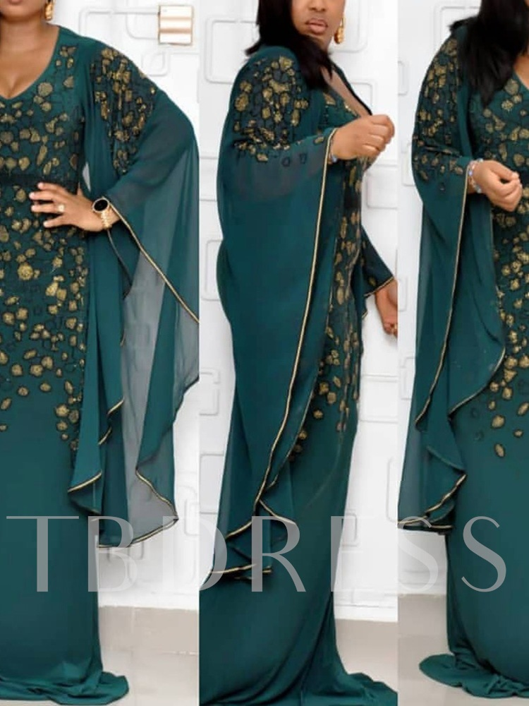 Plus Size V-Neck Embroidery Floor-Length Long Sleeve Party/Cocktail Women's Dress