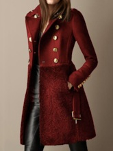 Regular Double-Breasted A Line Patchwork Lapel Women's Overcoat