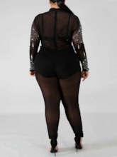Plus Size Patchwork Sexy Full Length Skinny Women's Jumpsuit