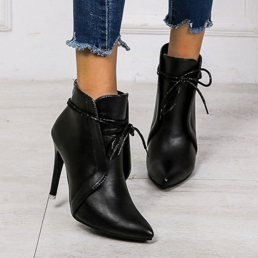 Pointed Toe Plain Lace-Up Back Stiletto Heel Booties