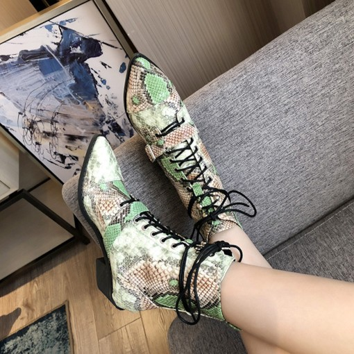 Pointed Toe Snake Skin Lace-Up Front Casual Booties