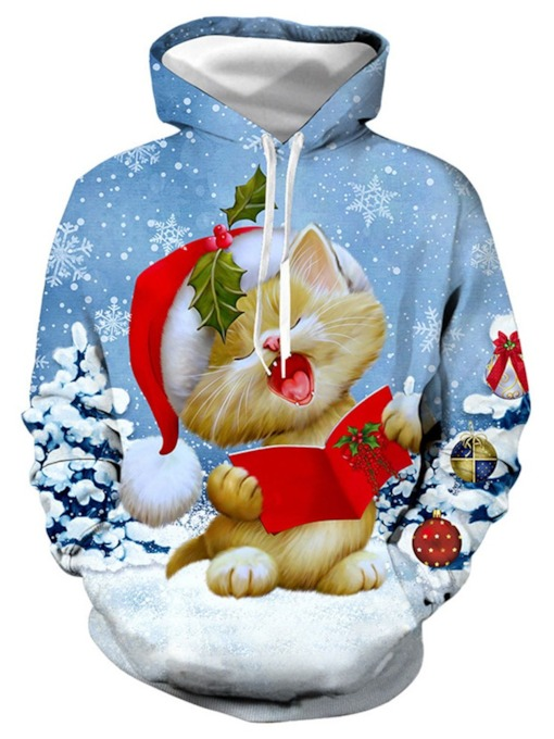 Pullover Cartoon Christmas Printed Men's Hoodies