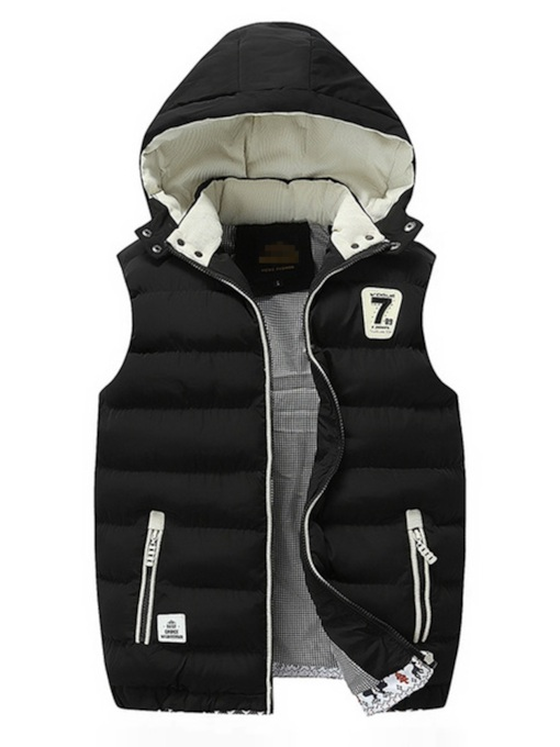 Hooded Thick Zipper Color Block Casual Men's Waistcoat