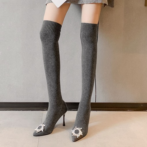 Stiletto Heel Pointed Toe Slip-On Plain Thigh High Boots