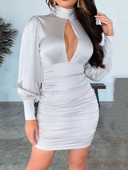 Above Knee Long Sleeve Turtleneck Pleated Mid Waist Women's Dress