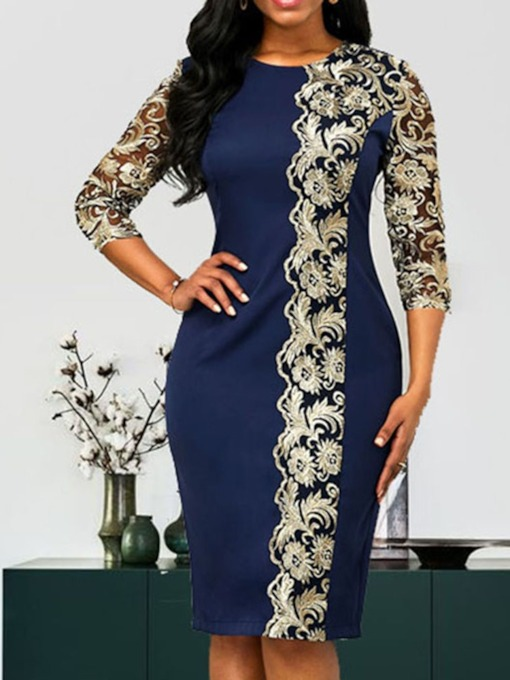 Three-Quarter Sleeve Mid-Calf Embroidery Round Neck Regular Women's Dress