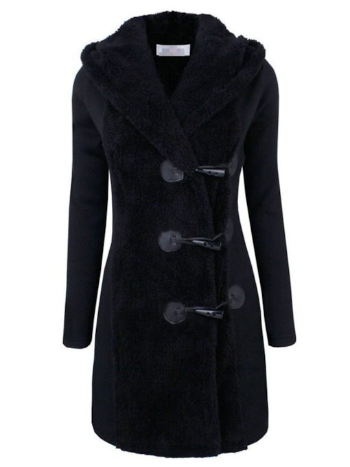 Button Slim Single-Breasted Hooded Women's Overcoat