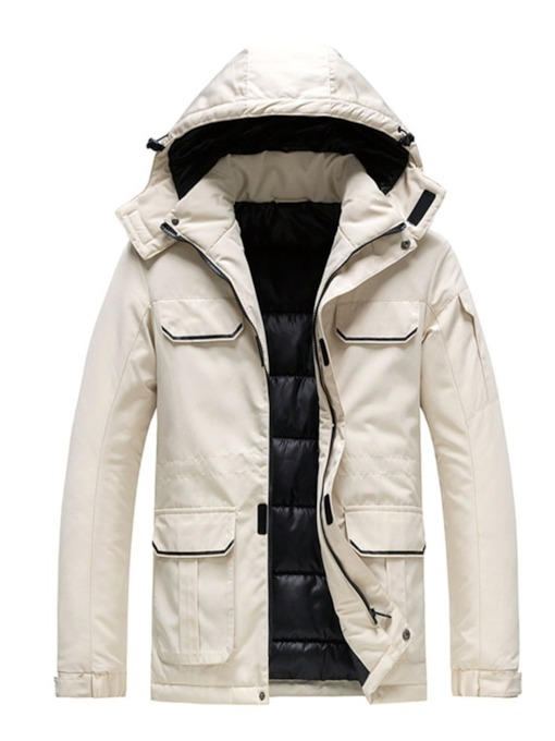 Mid-Length Hooded Patchwork Block Casual Men's Down Jacket