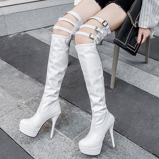 Round Toe Hasp Stiletto Heel Thigh High Boots