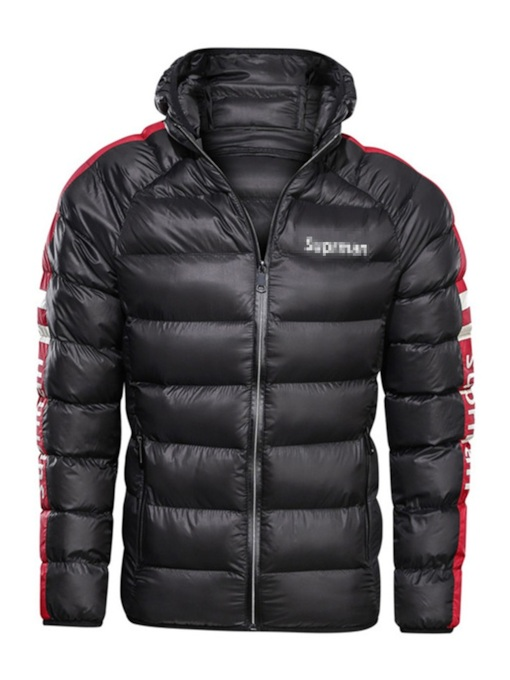 Standard Thick Hooded Zipper Casual Men's Down Jacket